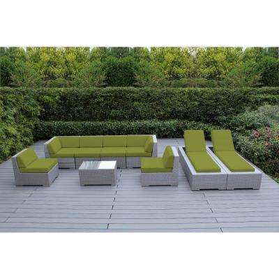 Gray 9-Piece Wicker Patio Combo Conversation Set with Spuncrylic Peridot Cushions