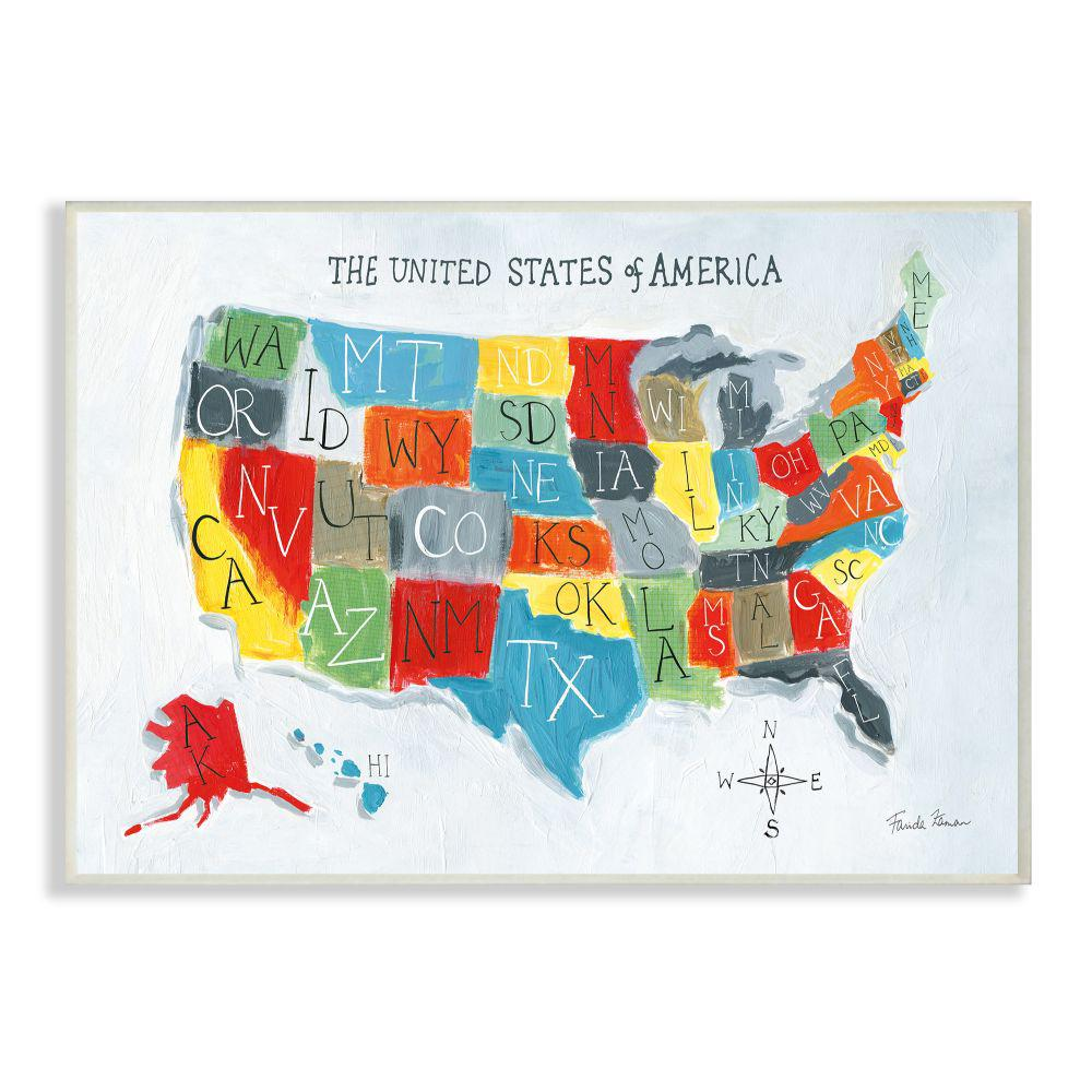 united states map painting The Kids Room By Stupell 12 In X 18 In Colorful World Map Of