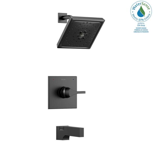 Zura 1-Handle Tub and Shower Faucet Trim Kit with H2Okinetic Spray in Matte Black (Valve Not Included)