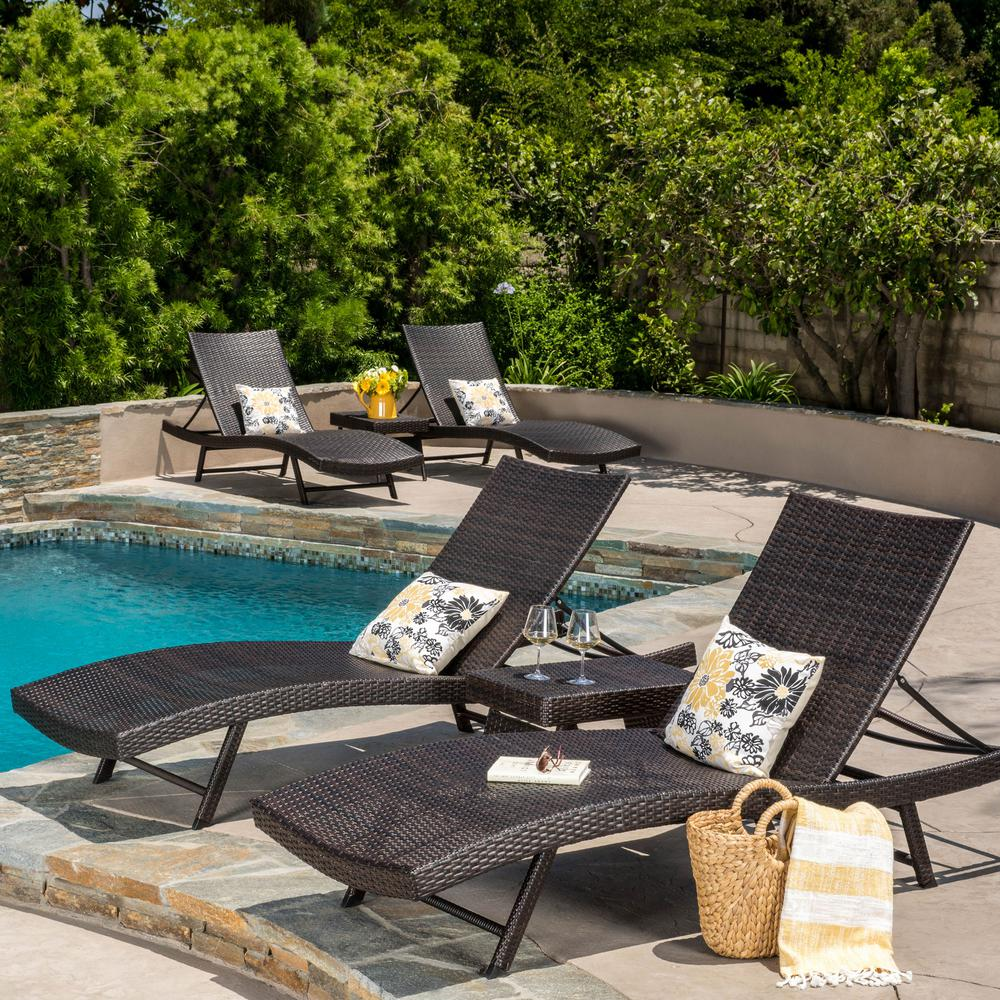 Noble House Kauai Multi-Brown 6-Piece Wicker Outdoor Chaise Lounge