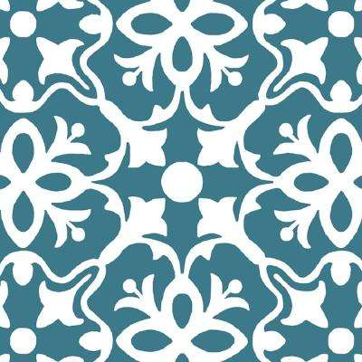 Brooklyn Teal 13.2 ft. Wide x Your Choice Length Residential Vinyl Sheet Flooring