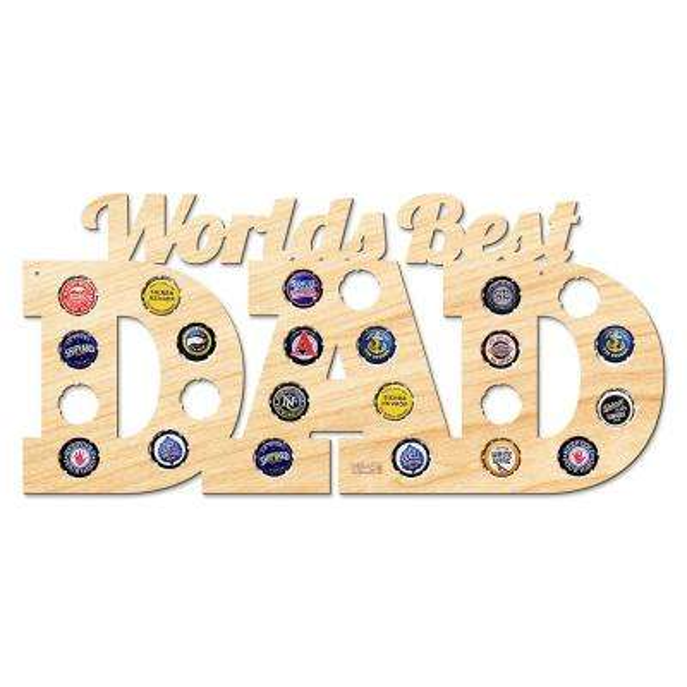 """18 in. x 8.5 in. """"World's Best Dad"""" Bottle Cap Holder"""