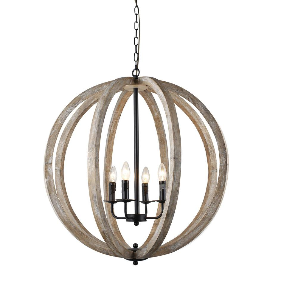 Y Decor Capoli 4-Light Wooden Orb Neutral Chandelier  sc 1 st  Home Depot & Y Decor Capoli 4-Light Wooden Orb Neutral Chandelier-LZ1174-4 - The ...