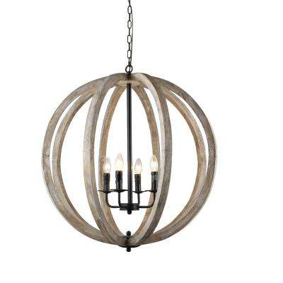 Globe brown chandeliers lighting the home depot capoli 4 light wooden orb neutral chandelier aloadofball Gallery