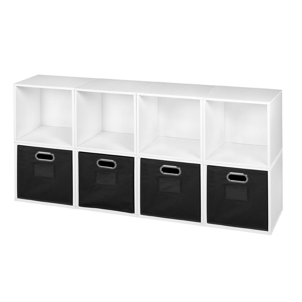 niche cubo 52 in w x 26 in h white wood grain black 8 cube and 4 bin organizer pc8pkwh4totebk. Black Bedroom Furniture Sets. Home Design Ideas