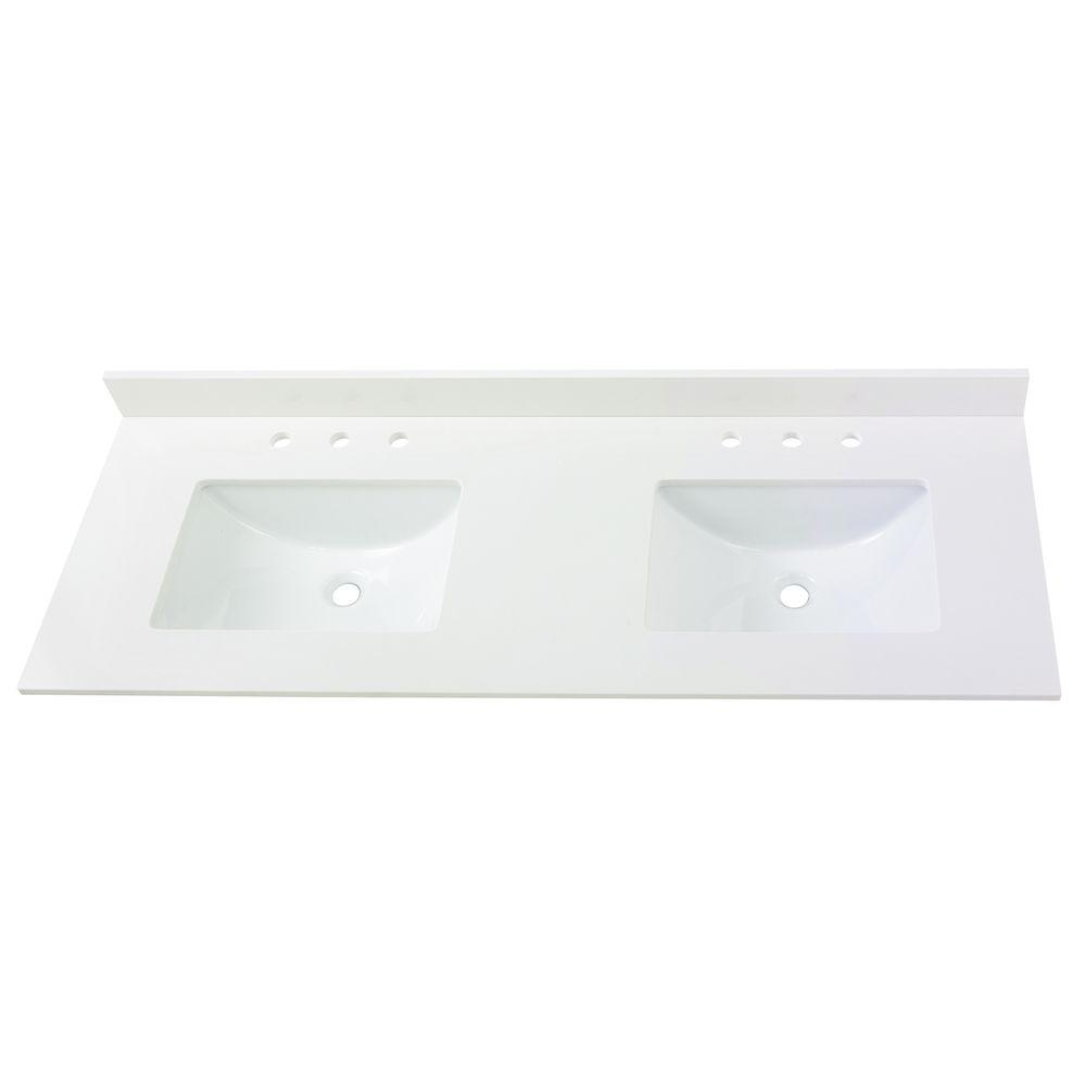 Home Decorators Collection 61 In W Engineered Marble Double Sink Vanity Top In Winter White With White Trough Sinks 62004 The Home Depot