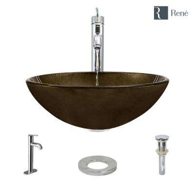 Glass Vessel Sink in Regal Bronze and Earth Tones with R9-7001 Faucet and Pop-Up Drain in Chrome