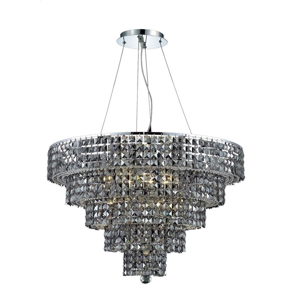 Elegant Lighting 17-Light Chrome Chandelier with Silver Shade Grey Crystal