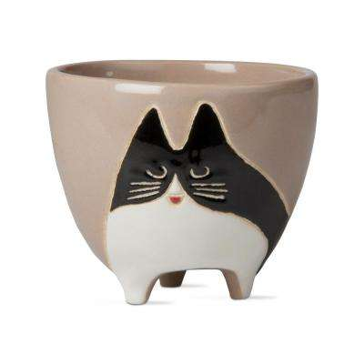 Cookie Cat 4 in. x 4.75 in. Black and White Earthenware Planter
