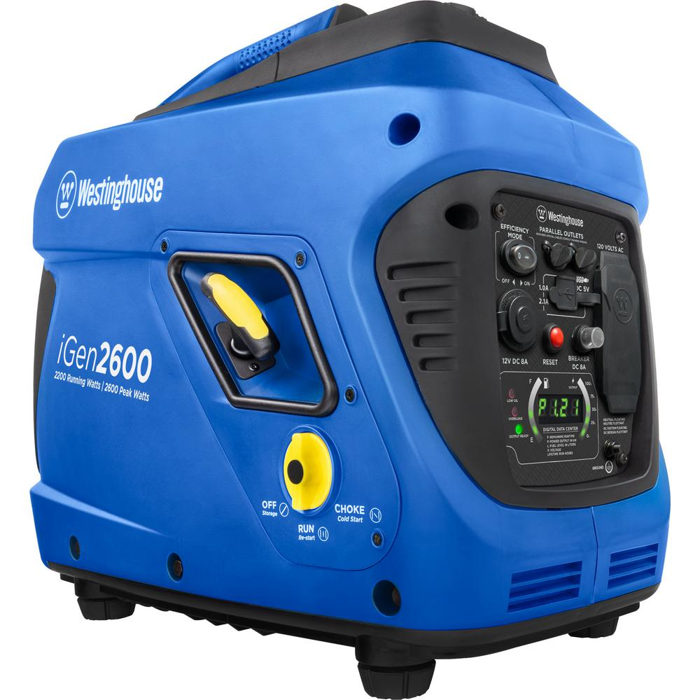 Westinghouse iGen2600 2,200/2,600 Watt Gas Powered Recoil Start inverter Generator with LED Display and Enhanced Fuel Efficiency
