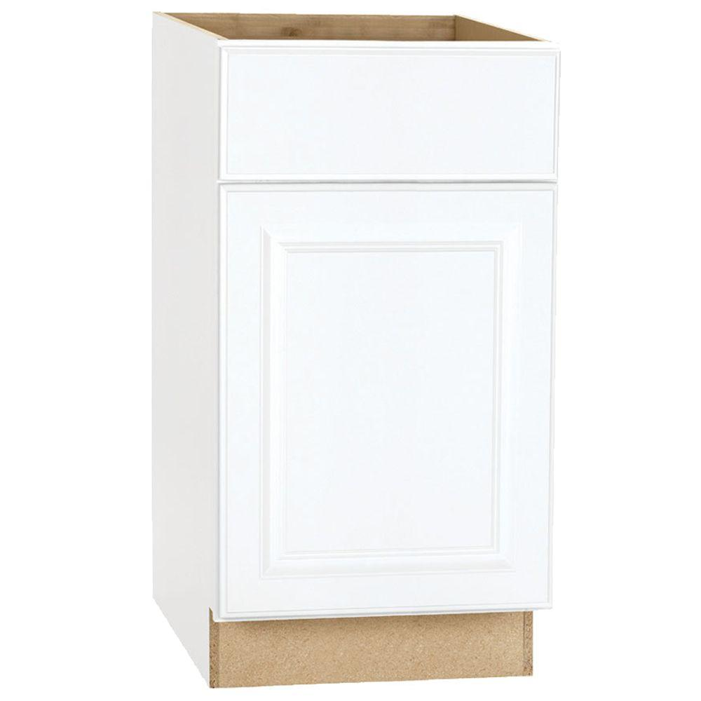 Hampton Bay Hampton Assembled 18x34.5x24 in. Base Kitchen Cabinet with Ball-Bearing Drawer Glides in Satin White