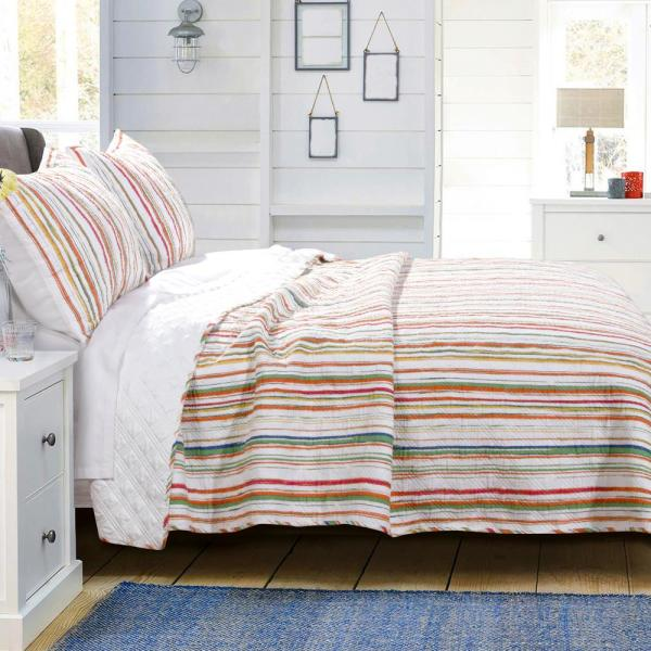 Greenland Home Fashions Sunset Stripe 3-Piece King Quilt Set GL-1810BMSK