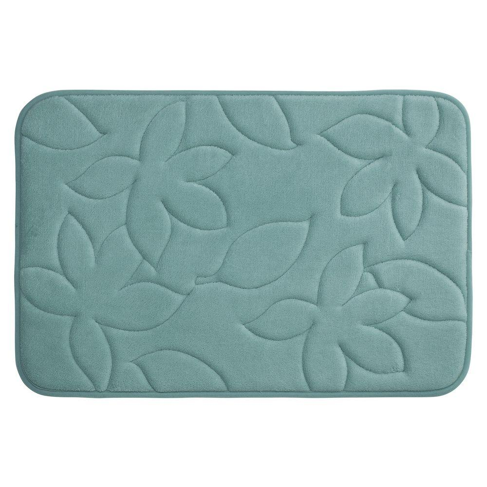 Blowing Leaves Marine Blue 20 in. x 34 in. Memory Foam