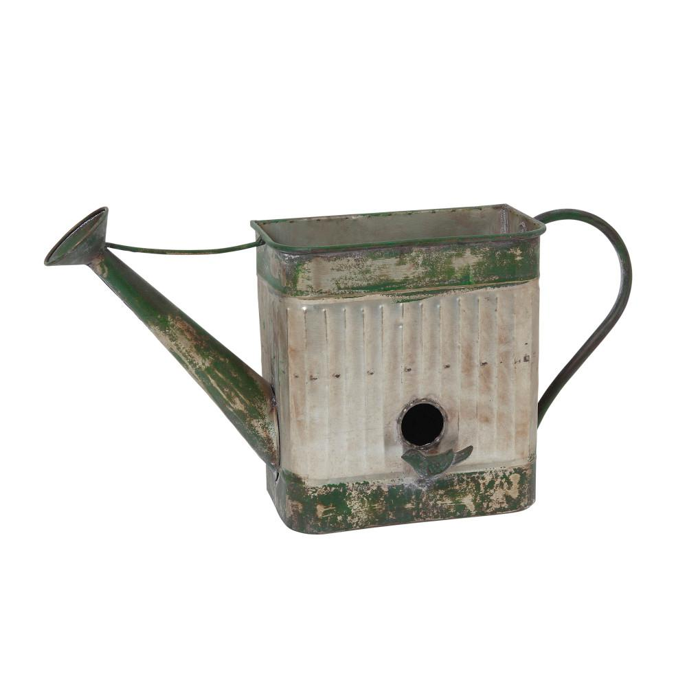 Gerson 21.5 in. x 11.8 in. Silver Metal Hanging Watering Can Planter with Birdhouse