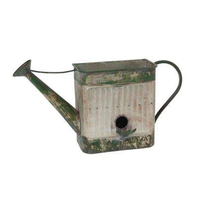 21.5 in. x 11.8 in. Silver Metal Hanging Watering Can Planter with Birdhouse