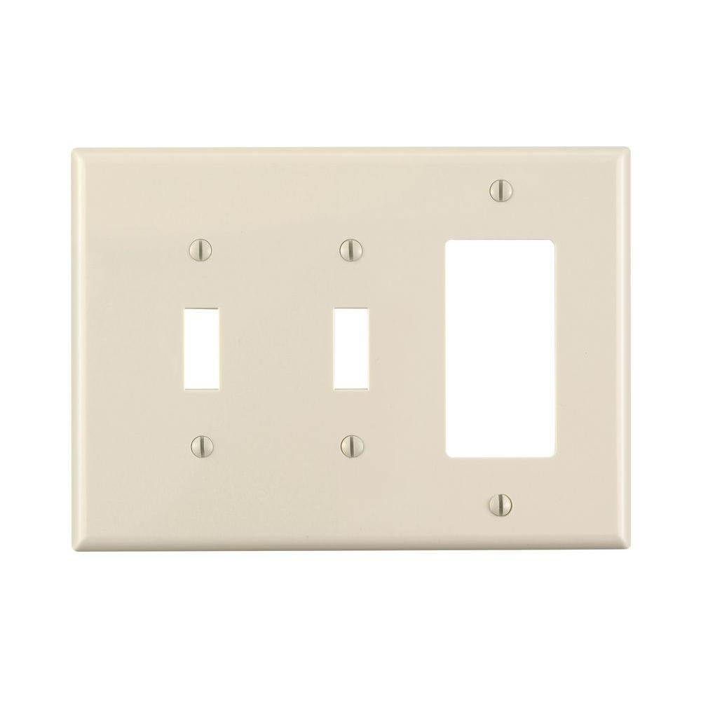 Leviton Decora 3 Gang Midway 2 Toggle Combination Nylon Wall Plate Light Almond