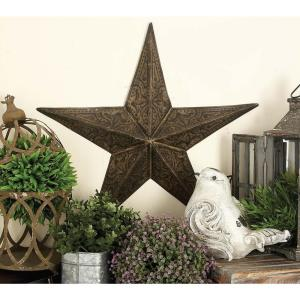 Large: 24 in., Medium: 18 in., Small: 13 inch Farmhouse Iron 3-Dimensional Barn Star Wall Sculpture (3-Pack) by
