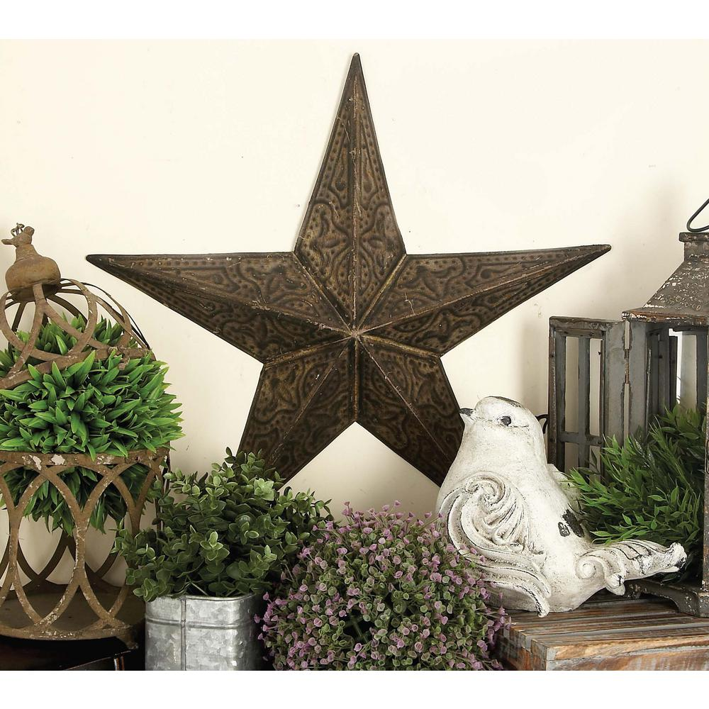 Litton Lane Large: 24 in., Medium: 18 in., Small: 13 in. Farmhouse Iron 3-Dimensional Barn Star Wall Sculpture (3-Pack)