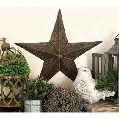 Large: 24 in., Medium: 18 in., Small: 13 in. Farmhouse Iron 3-Dimensional Barn Star Wall Sculpture (3-Pack)