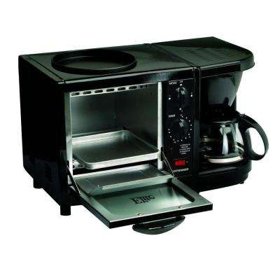 Black Breakfast Center Toaster Oven