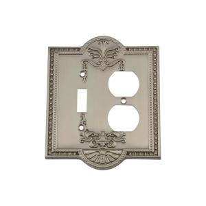 Nostalgic Warehouse Meadows Switch Plate with Toggle and Outlet in Satin Nickel by Nostalgic Warehouse