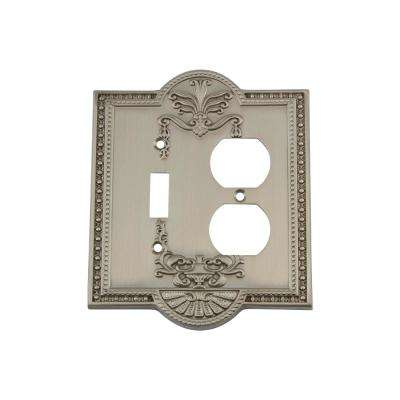Meadows Switch Plate with Toggle and Outlet in Satin Nickel