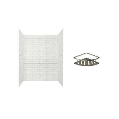Passage 60 in. x 72 in. 2-Piece Glue-Up Alcove Shower Wall with Corner Shelf in White Subway Tile