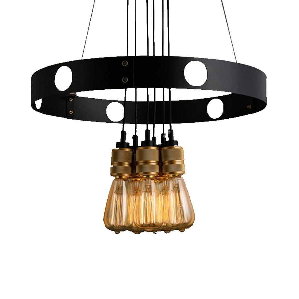 Null Jeanette 6 Light Black Indoor Gold Edison Chandelier With Bulbs