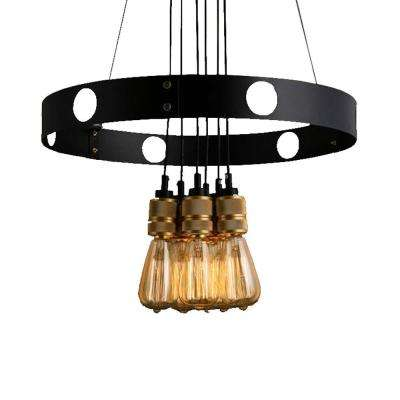 Jeanette 6-Light Black Indoor Gold Edison Chandelier with Bulbs