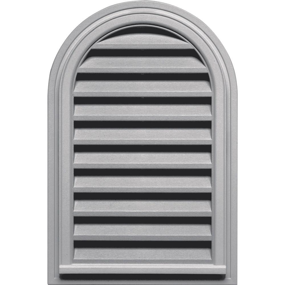 22 in. x 32 in. Round Top Gable Vent in Gray