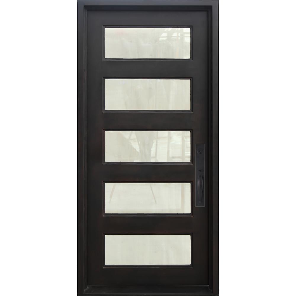 46 in. x 97.5 in. Iron Doors Unlimited Bella Luce Oil Rubbed Bronze Left Hand Sandblast Glass Iron Prehung Front Door