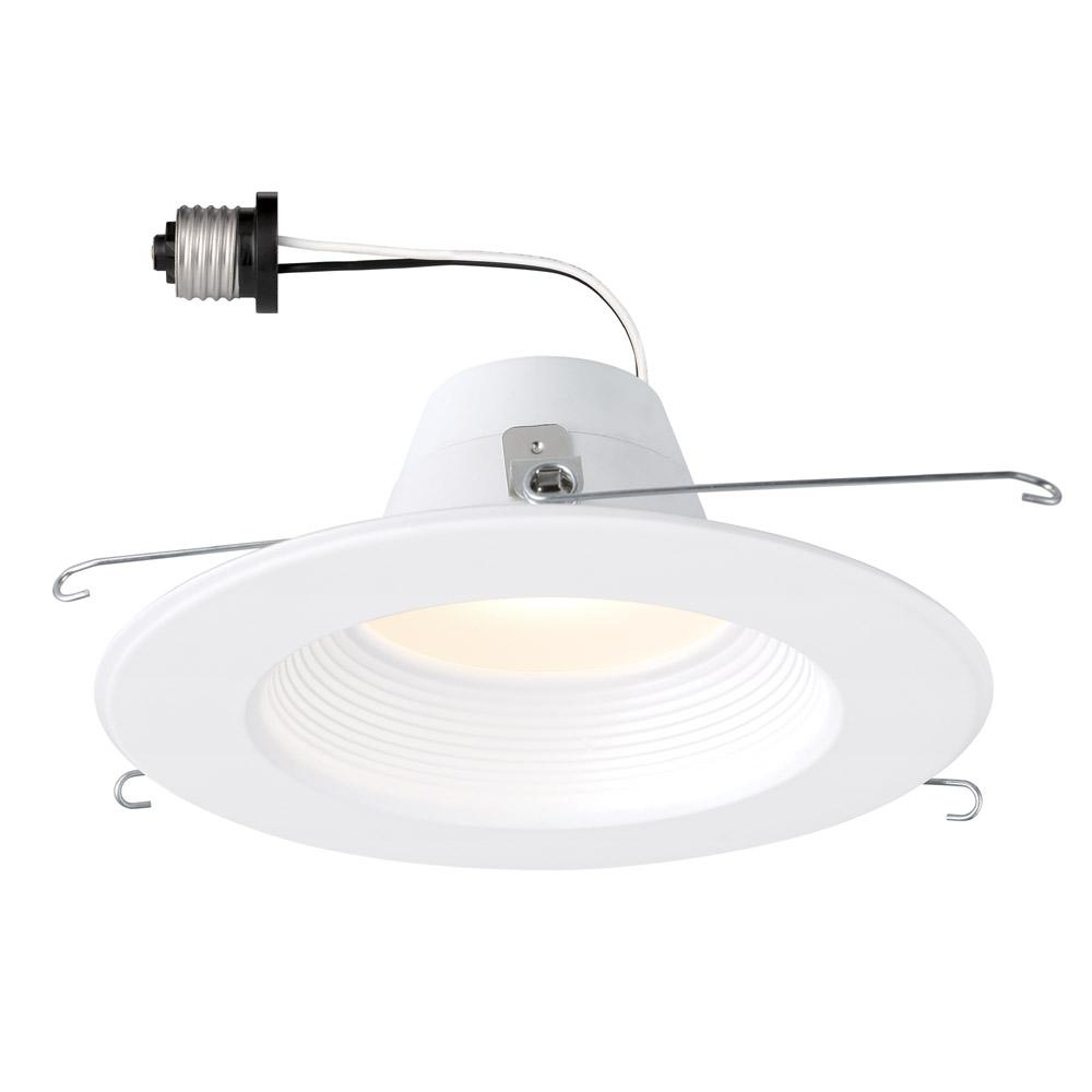 Envirolite 5 In 6 Remodel White Integrated Led Recessed Ceiling Downlight Baffle Trim Dimmable 3500k