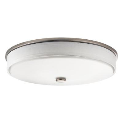 Ceiling Space 17.25 in. Brushed Nickel LED Flush Mount with Linen Shade and White Acrylic Diffuser