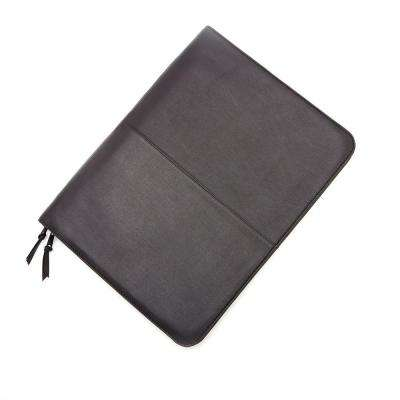 Black Luxury Zip Around Writing Portfolio and iPad Tablet Organizer in Genuine Leather