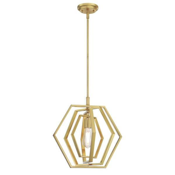 1-Light Champagne Brass Pendant