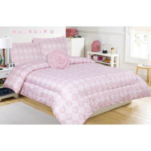 Peyton Pink Twin Microfiber Comforter Set with Decorative Pillow by