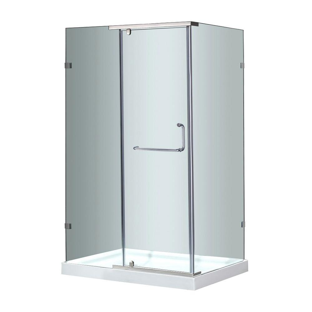Aston SEN975 48 in. x 35 in. x 77-1/2 in. Semi-Frameless Shower Enclosure in Stainless Steel with Left Base