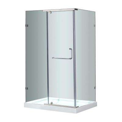 SEN975 48 in. x 35 in. x 77-1/2 in. Semi-Frameless Shower Enclosure in Stainless Steel with Left Base