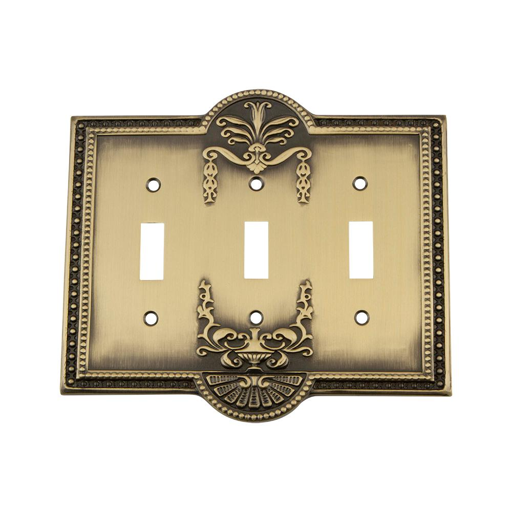 Nostalgic Warehouse Meadows Switch Plate with Triple Toggle in Antique Brass