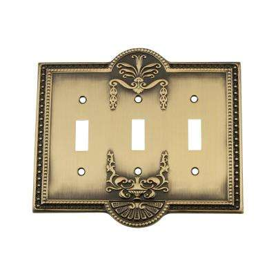 Meadows Switch Plate with Triple Toggle in Antique Brass
