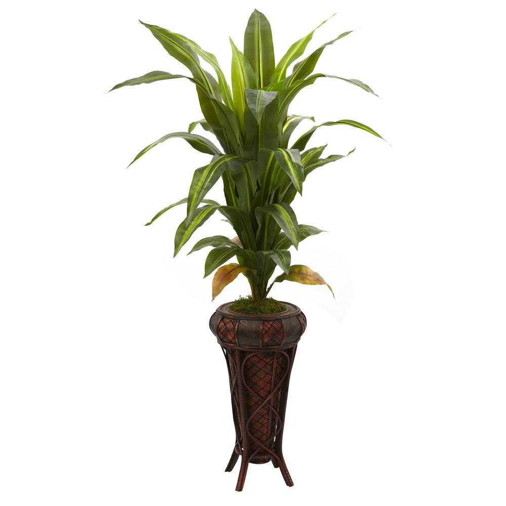 Nearly Natural Real Touch 57 in. Dracaena with Stand Silk...