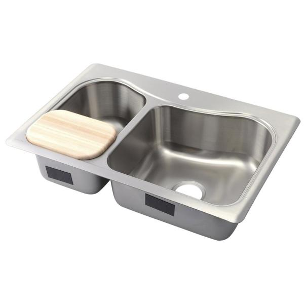 Kohler Staccato Drop In Stainless Steel 33 In 1 Hole Double Bowl Kitchen Sink With Hardwood Cutting Board K 3361 1 Na The Home Depot