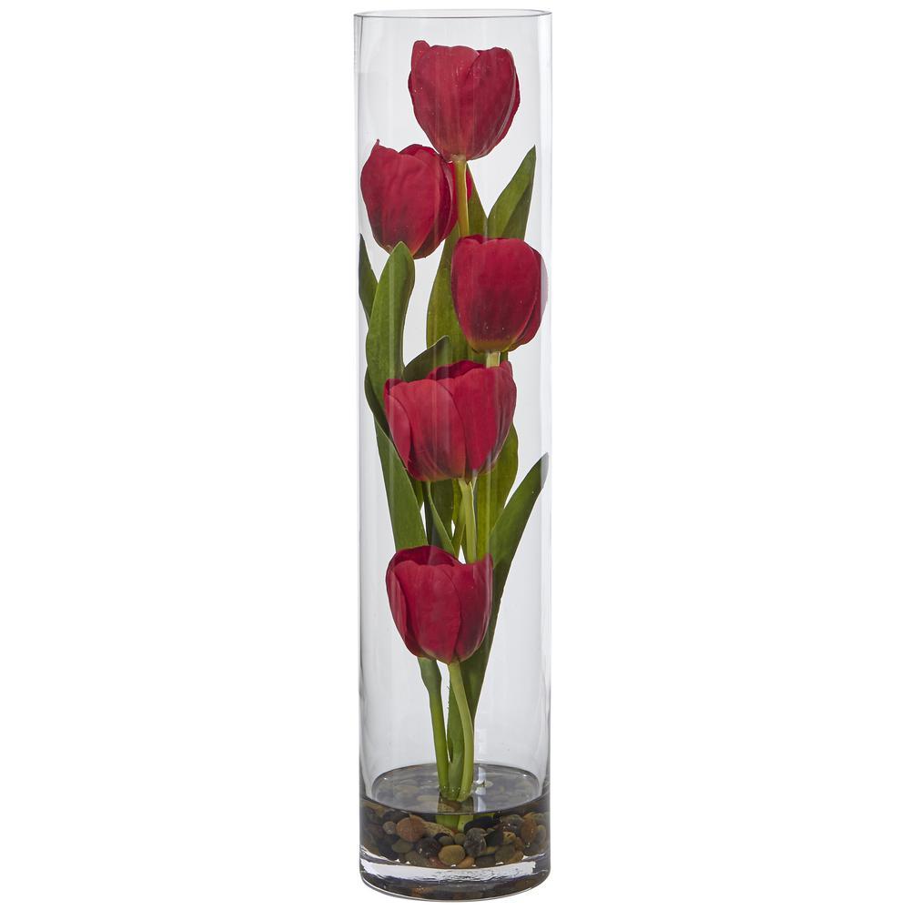 18 in. H Indoor Tulips Silk Arrangement in Cylinder Glass