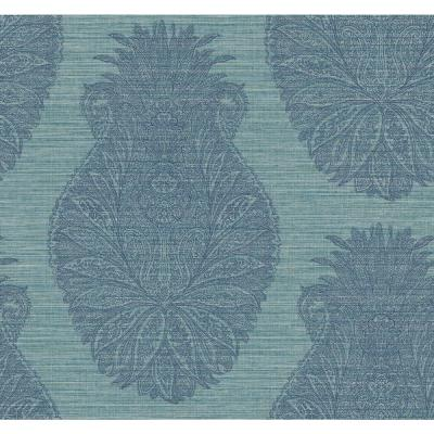 Peachtree Metallic Gold, Teal and Midnight Blue Damask Wallpaper