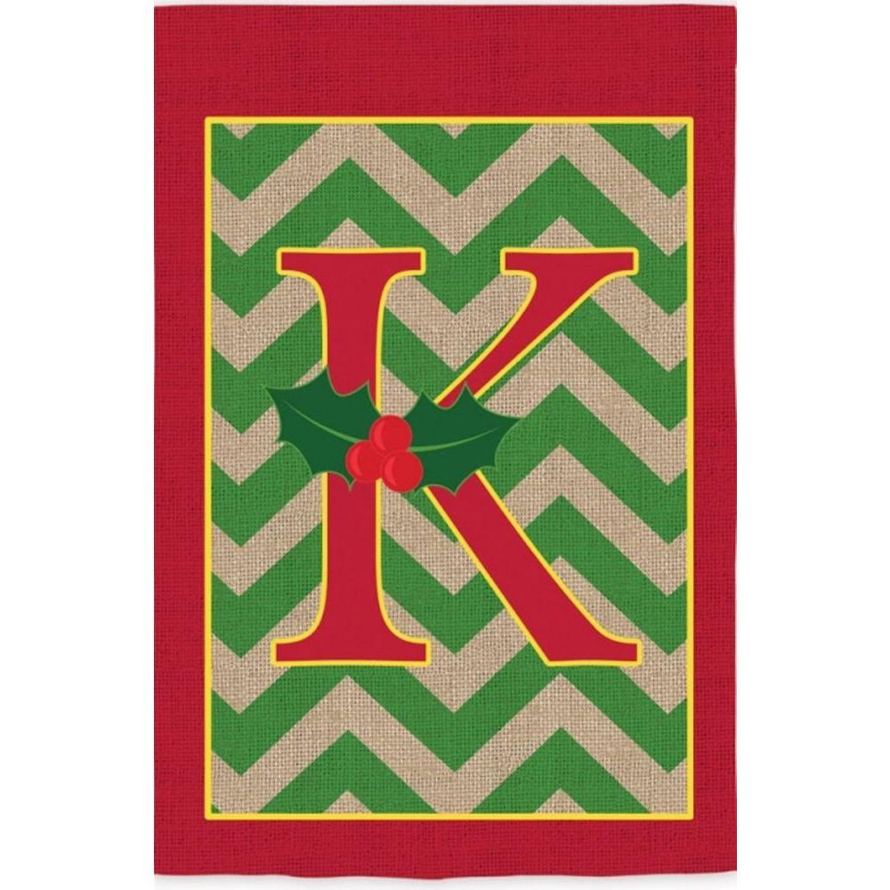 2-1/3 ft. x 3-2/3 ft. Monogrammed K Holly Burlap House Flag