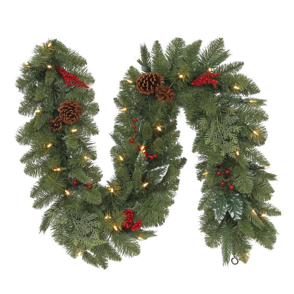 Home Accents Holiday 6 ft. Battery-Operated Pre-Lit LED Artificial Winslow Fir Christmas Garland with 130 Tips, 35 Clear Lights and Timer
