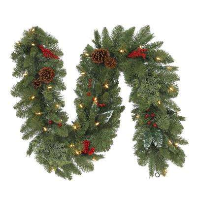 6 ft. Winslow Fir Battery-Operated Pre-Lit LED Artificial Christmas Garland w/ 130 Tips, 35 Warm White Lights and Timer