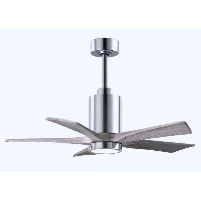 Patricia 42 in. LED Indoor/Outdoor Damp Polished Chrome Ceiling Fan with Light with Remote Control and Wall Control