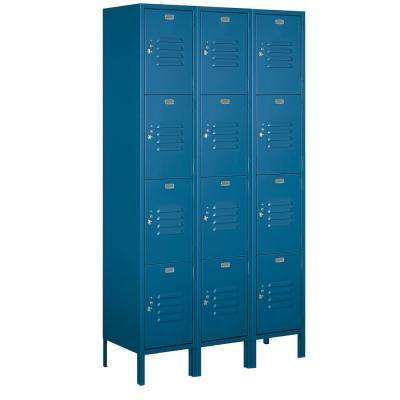 18-54000 Series 12 Compartments Four Tier 54 In. W x 78 In. H x 21 In. D Metal Locker Assembled in Blue