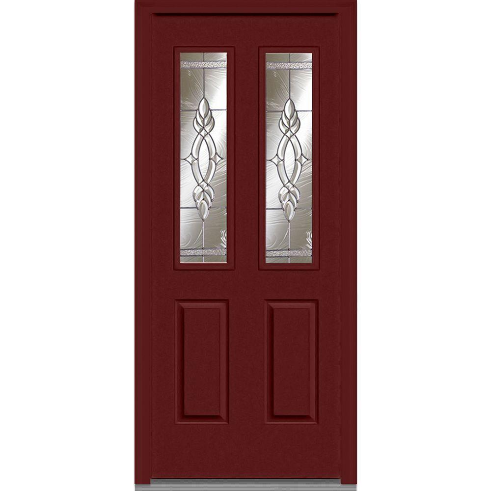 MMI Door 32 In. X 80 In. Brentwood Right Hand Decorative 1/2 Lite 2 Panel  Classic Painted Fiberglass Smooth Prehung Front Door Z002634R   The Home  Depot